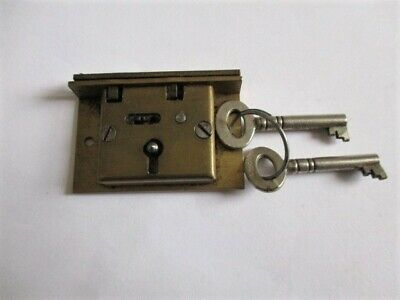 vintage small brass box lock with two keys, antique restore