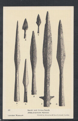 London Museum Postcard - Spear & Arrow-Heads, Anglo-Saxon Period RS12787