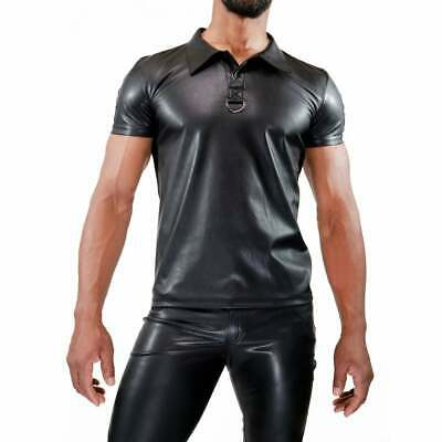 TOF PARIS Leather-Look Polo Shirt