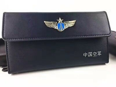 15's series China PLA Air Force Badge Officer Genuine Leather Wallet,D