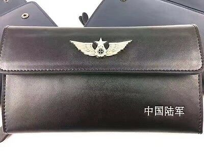 15's series China PLA Army Badge Officer Genuine Leather Wallet,D