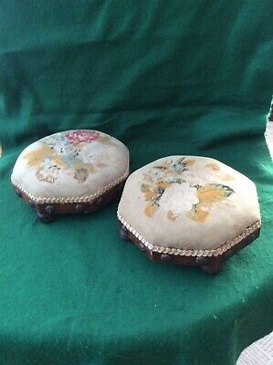 Pair of antique stools with needlepoint covers
