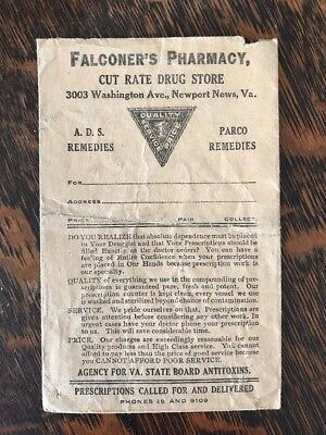 VTG Falconer's Pharmacy Advertising Bag Sack Newport News VA 1910s Drug Store