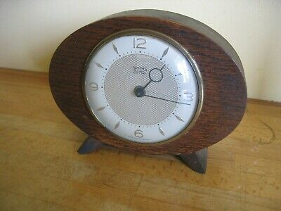 Vintage Smiths 4 Jewels 8 Day Art Deco Style Wood Mantle Clock Working Needs TLC