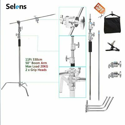 5-11ft Heavy Duty Support Stainless Steel C-Stand w/ Boom Arm Grip Head Sandbag