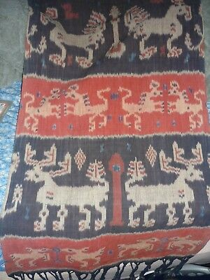 Vintage Ikat Natural Dye Weaving Wall Hanging fabric