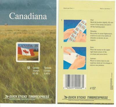1990 Canada SC# BK 114c - Quick Stick - Flag - booklet of 12 M-NH