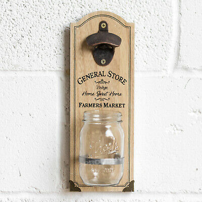 Vintage Wood Shabby Chic Wall Mounted Bottle Opener with Catcher Beer Party Coke