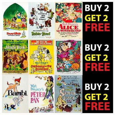 Walt Disney Vintage Retro Film Cartoon Print Wall Art Deco A4 A3 Posters