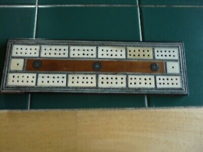 Antique/Vintage Cribbage Board Inlaid With Bone And Other Inlay