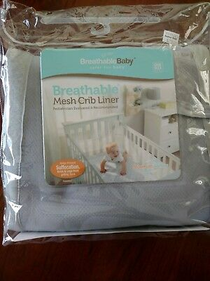 Breathable Baby Mesh Crib Liner Bumper - Light Grey - Instructions Included