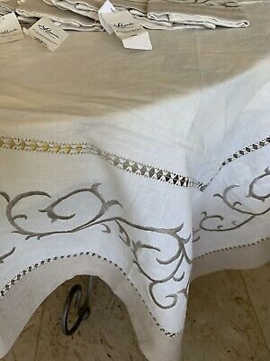 New Exquisite Embroidered Square Linen Tablecloth & Eight Napkins