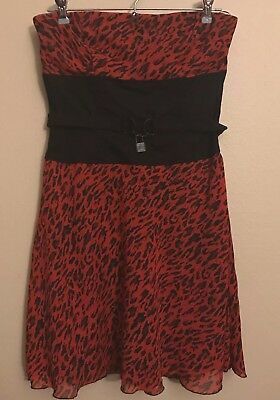 e2a5831bfd Tripp nyc Hot Topic Red and Black Animal Print Strapless Dress Size Medium  EUC