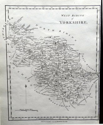 WEST RIDING YORKSHIRE Stockdale Original Copper Engraved Antique County Map 1794