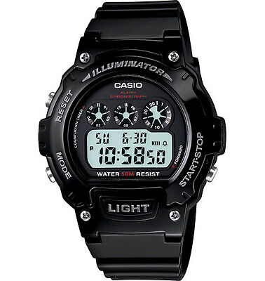 Casio W214HC-1AV, Digital Chronograph Watch, Black Resin Band, Alarm