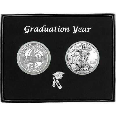 Graduation 2019 Volleyball Athlete Silver Round & Silver American Eagle 2pc Set