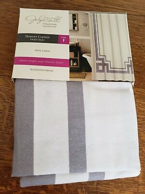 Jaclyn Smith Fabric Shower Curtain 100 Cotton 70x72 Gray And White Hotel Style