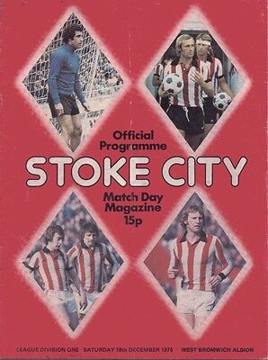 Stoke City v West Bromwich Albion Official Programme -  18th December 1976