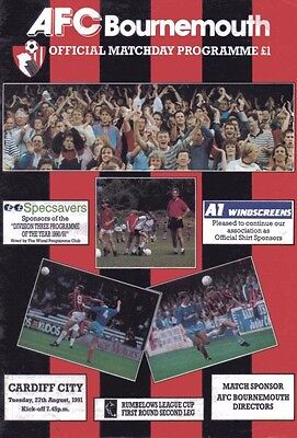 AFC Bournemouth v Cardiff City Official Football Programme - 27th August 1991