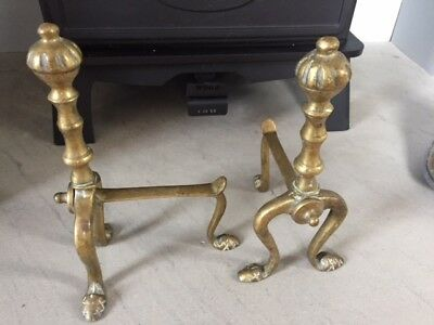 Lovely Pair Of Vintage Solid Brass Fire DogsAndirons