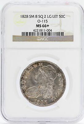 1828 Capped Bust Half Dollar NGC MS 66+ SM 8 SQ 2 LG Let O-115 Certified - JB582