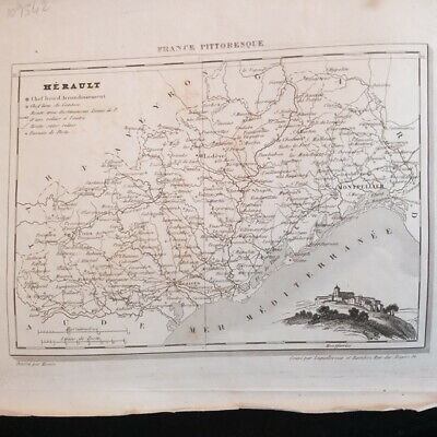 Map Hérault drawn up by Monin La France picturesque 19TH century