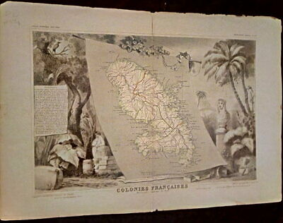 Card geographical Colonies French Martinique - America south