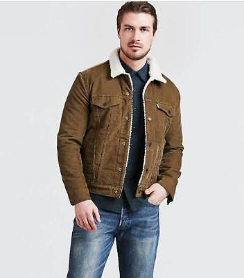 e1478934 NWT Levi's Mens Type III Sherpa Trucker Jacket Brown Corduroy Coat Size All  Size