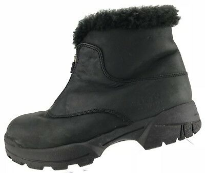 57682b8c939e UGG Australia Zip Front Ankle Boots Black Leather Shearling Winter Womens Sz  7
