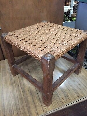 Vintage Traditional Fireside Stool String Weave Seat 1/10/B