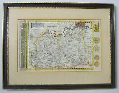 Surrey: antique map by Herman Moll, 1724 or 1739