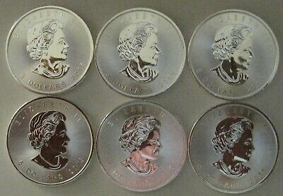 LOT OF SIX - 2015 1 oz Silver Canadian Maple Leaf $5  *** .9999 Silver Rounds***
