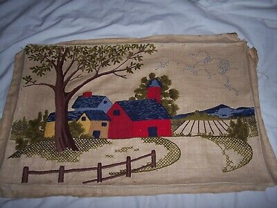 """Large Farm Crewel Needlework Finished Completed Piece  ~ 19"""" x 29"""""""