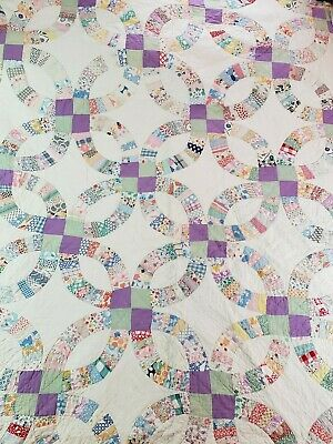 """Vintage Handmade Hand Stitched Quilt Double Wedding Ring 74"""" x 80"""""""
