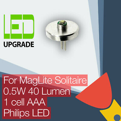 MagLite Solitaire LED Conversion Upgrade bulb Torch Flashlight 1AAA Cell Philips