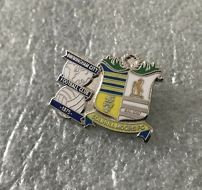 Rare Birmingham City Supporter Enamel Badge  Blues With Solihull Moors Twin