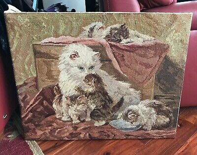 Beautiful Victorian Scene Of a Mother Cat And Kittens ENTIRELY MADE BY HAND !!!
