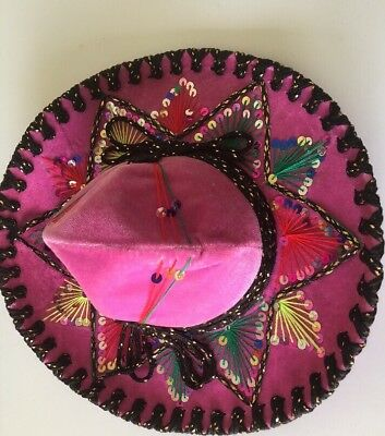 Mexican Sombrero Hot Pink Girls Womens Vintage Belri Hats CUTE Mexico 19