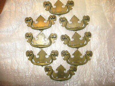 8 Vintage Solid Brass Drawer Pulls Handles Chippendale  Bail Style Marked A58