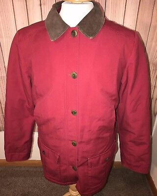 8fbe9cd2522 LL Bean Womens Red Canvas Field Barn Jacket Chore Coat Cotton Poly Lined Sz  Med