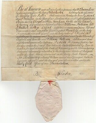 Signed Vellum Document Ordination of Deacon by Bishop of Winchester 1811 Seal