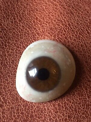 1910-1930s Broken Prosthetic Glass Eye Vintage Antique Brown