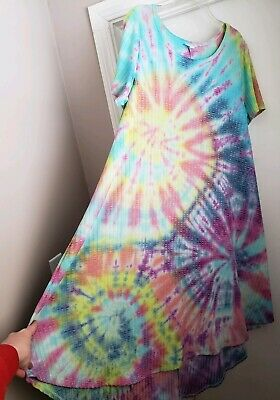 a8b6f76f95c17 Custom Tie Dye LuLaRoe Carly Dress 2XL Rainbow Spiral   One Of A Kind