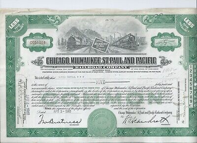 Chicago Milwaukee St Paul & Pacific Railroad stock certificate 1940