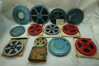 VINTAGE HOME MOVIES LOT 1940s 1950s 8mm STAG CHARLIE CHAPLIN LAUGHING GAS 16mm z