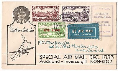 New Zealand First Day RARE 1933 Auckland-Invercargill Cacheted (Lot CCI)