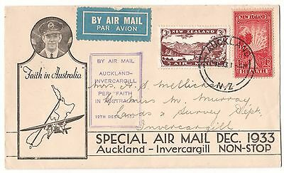 New Zealand First Day 1933 Auckland-Invercargill Cacheted (Lot CCJ)