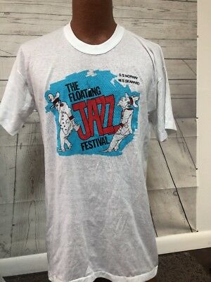 VERY RARE VINTAGE 1983 Floating Jazz Festival T-shirt NWT Deadstock Paper Thin