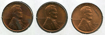 1945 Lincoln Wheat Cent Penny Set - PDS Mint - Uncirculated Collection - AM539