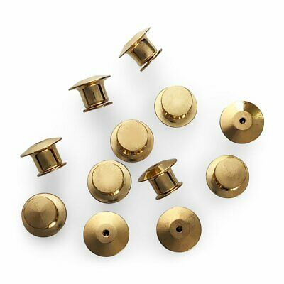 Gold Metal Locking Pin Back Keepers Clasps For Lapel Pins - 12 Pack